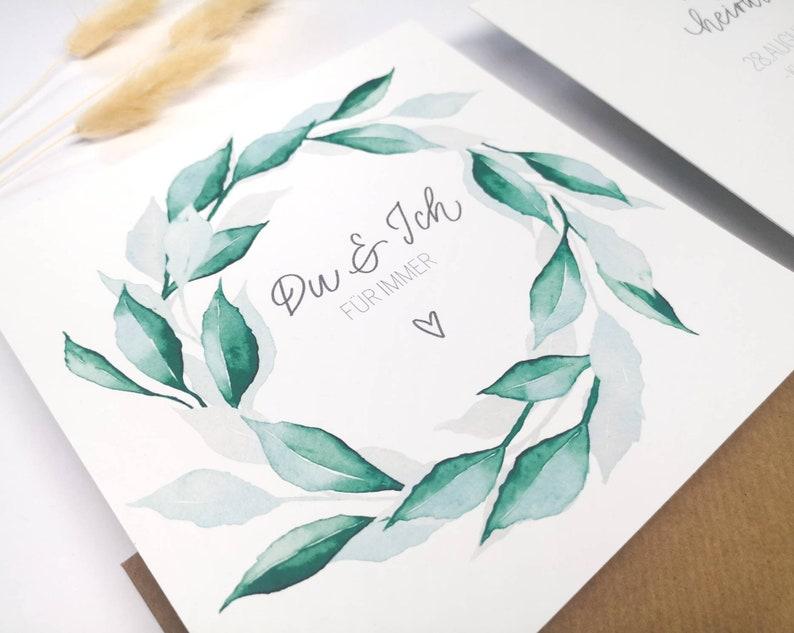 Save-the-Date Card Leaf wreath