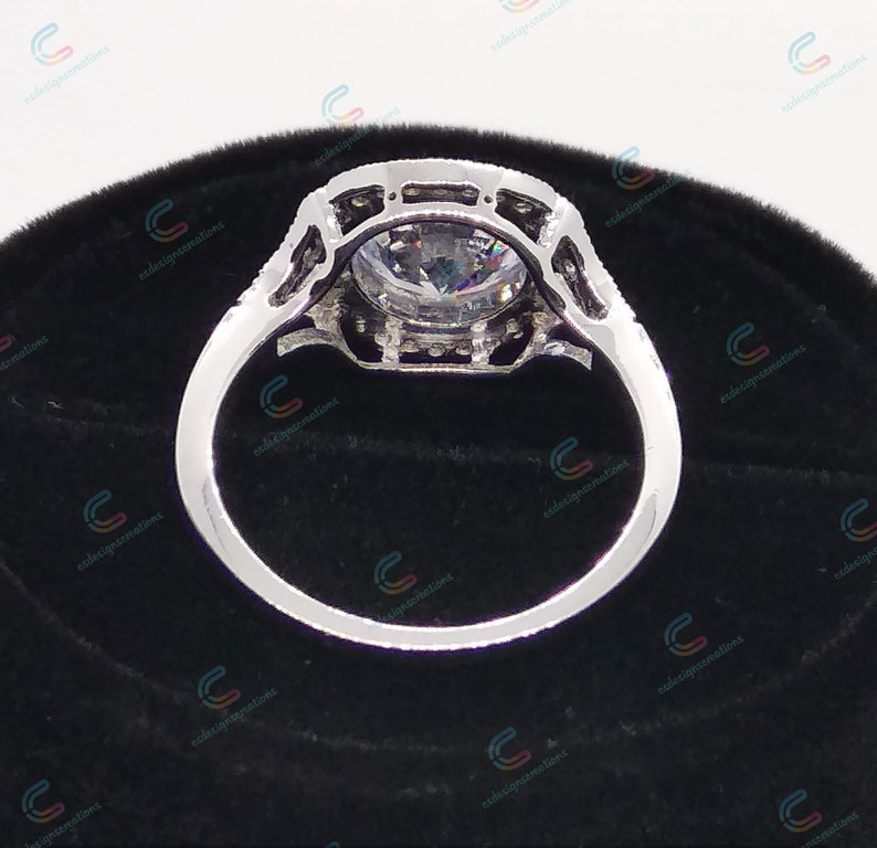 Vintage Art Deco Bezel Set 2.38 Ct Round Cut Engagement Ring In 925 Sterling Silver For Womens Wedding Cocktail Ring Bezel Ring