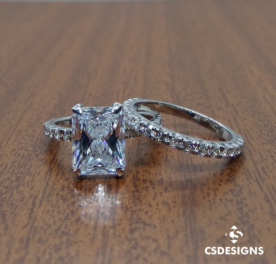 3 60 Ct Brilliant Radiant Cut Cz Solitaire Engagement Ring Set Etsy