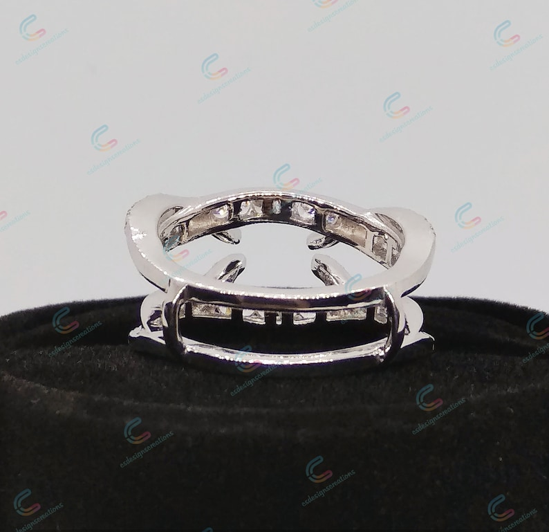 2.03 Cts Round Cut Cz Diamond Wrap Guard Band Wedding Wrap Ring Enhancer Wedding Wrap Band Solitaire Engagement Enhancer 925 Sterling Silver