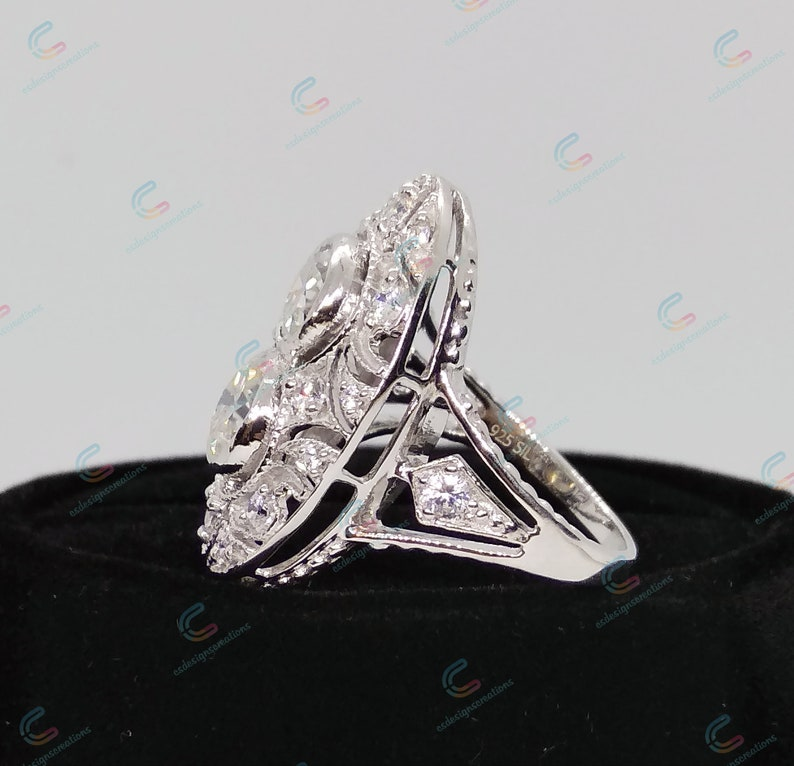 Antique Vintage Art Deco Style Engagement Ring 2.30 Ct Round Cut Cz Diamond Cocktail Ring In 925 Sterling Silver Vintage Style Ring