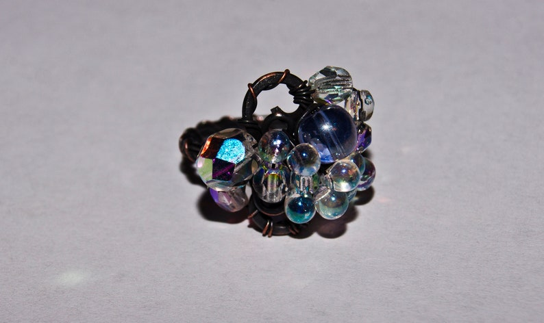 Rainbow ring for women Size 6 Crystal fairy ring US Copper ring Magic ring women Lavender ring Gift for woman Elven sparkle ring