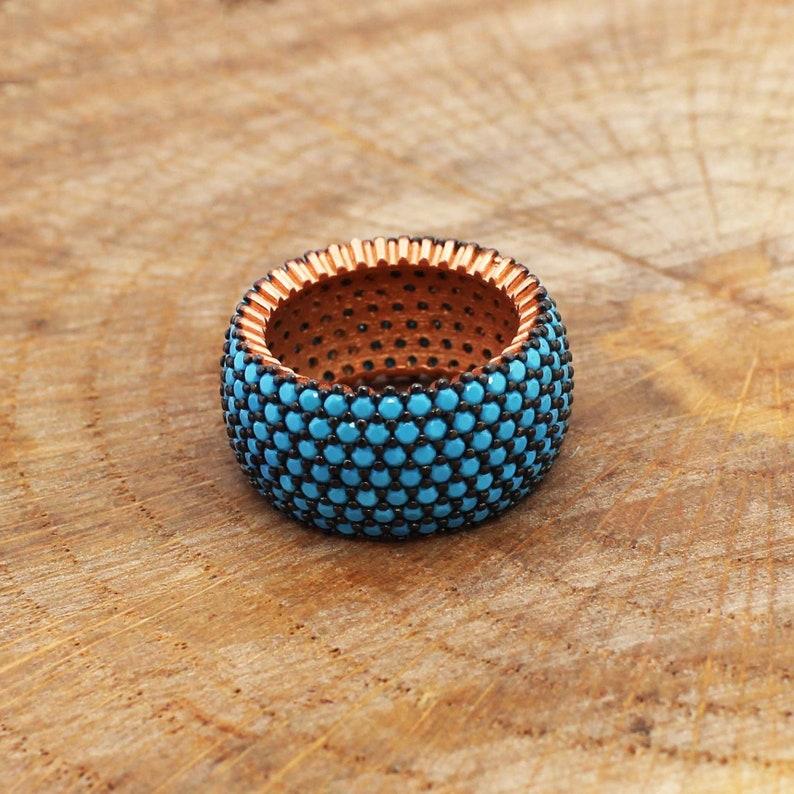 925 Sterling Silver Turkish Handmade 7 Row Eternity Ring