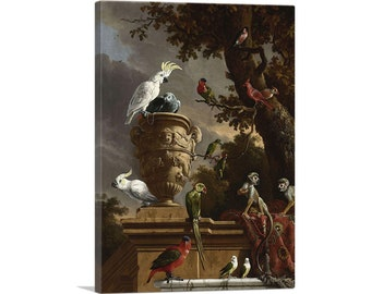 Roosters Fighting  by Melchior D/'Hondecoeter  Giclee Canvas Print Repro