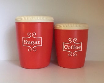 Exceptionnel Vintage Red And White Plastic Canisters, Mid Century Modern, Retro Kitchen  Canister Set, Circa 1960u0027s