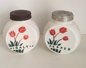 Vintage Fire King Red Tulip Shakers, Anchor Hocking Glass, Vitrock Shakers, Collectible Glass, Milk Glass, Farmhouse Decor