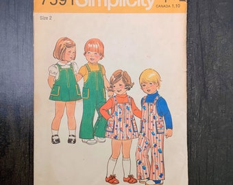 Simplicity 7591 Oliver Goodin Heirloom Jumpsuit Jumper Dress Blouse Pattern Smocking Girls Toddlers Sewing Size 2 3 4 Breast 22 23 24 UNCUT