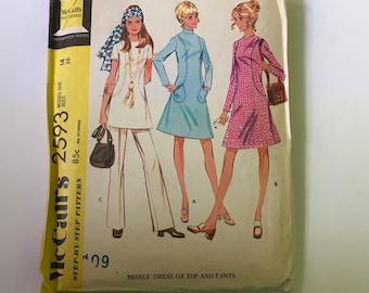 Vintage 1970 McCalls 2593 Pattern Iconic Hippie 70s Fashion Pantsuit Flare Legs Tunics Turtlenecks Bright Scarf Groovy Retro