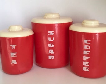 Vintage Red And White Plastic Canisters, Mid Century Modern, Retro Kitchen  Canister Set, Circa 1960u0027s