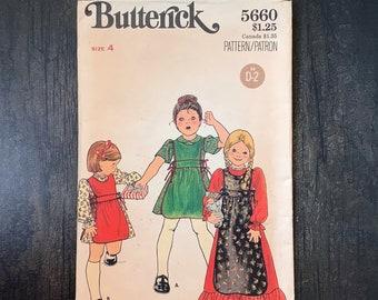Vintage Butterick 5660 Sewing Pattern, Girl's Dress Pattern, Apron, Size 4, 1970s Clothing, Hippie, Bohemian Fashion, Boho