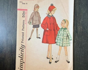 Vintage Simplicity 5147 Sewing Pattern, Girl's Winter Coat, Double Breasted Coat, Hat, Patch Pockets, Size 6, 1960s Fashion