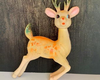 Vintage Rubber Christmas Deer, Reindeer Figurine, Glitter, Retro, Christmas Decor, Mid Century Holiday, 8 Inches, Japan, 1960s