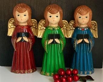 Vintage Christmas, Girl Angel Carolers, Chalkware, Ardco, Mid Century Modern, Christmas Decor, Retro Christmas, 1960s