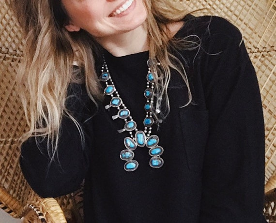 turquoise squash blossom necklace - image 7