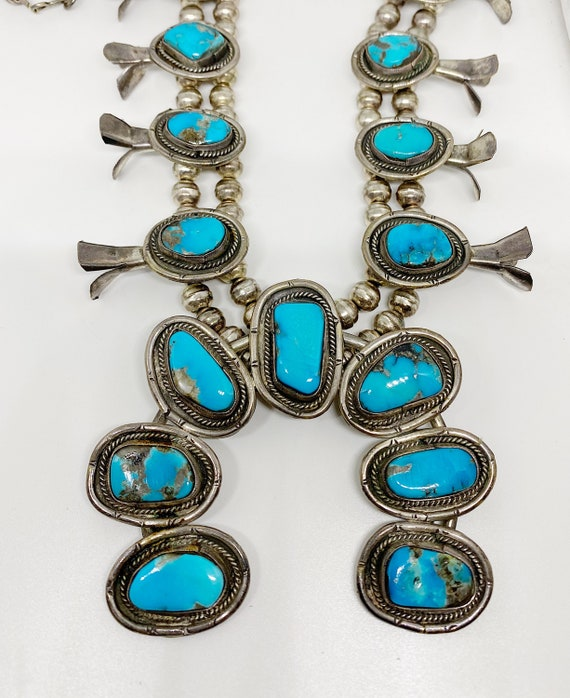 turquoise squash blossom necklace - image 3