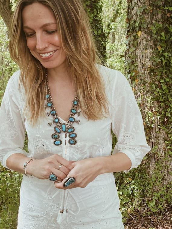 turquoise squash blossom necklace - image 8