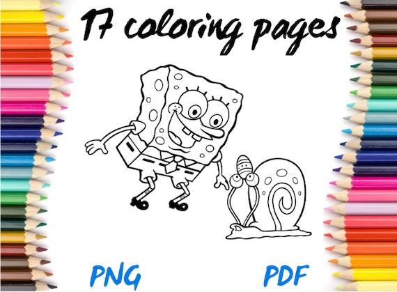 Spongebob Squarepants PNG PDF Coloring Book Download Etsy