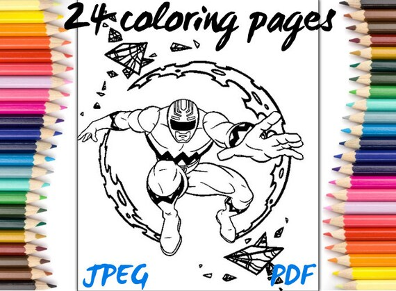 Coloring Pages Power Rangers Jpeg Pdf Coloring Book Download Etsy