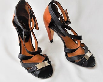 229daff7cc6 Vintage Celine Shoes   Black Brown Leather High Heels Shoes   Size EU 37.5    Ankle Strap Summer Women s Shoes   Crossed Straps Metal Buckle