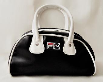 Vintage Fila Bag   Bowling Bag   Black White Medium Size Handbag    Streetstyle   Vintage bag fa8431f284048