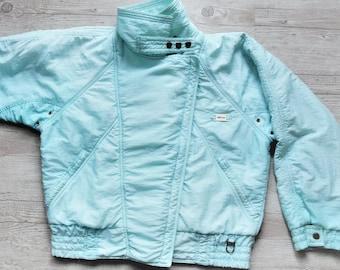 Vintage Ski Suit Jacket   Winter Sports Wear   Light Pastel Green Track Zip  Up Jacket   Too-big Windbreaker   Size US 12 EU 42 37adebd03