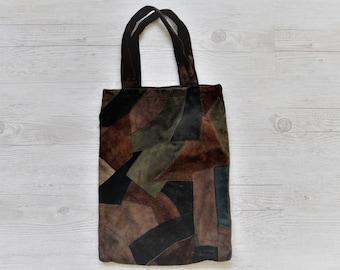 83765fd6c9e0 Vintage Patchwork Leather tote   Handmade Patchwork   Genuine Chamois  Leather shopping bag   Hippie BoHo Bag   Handle bag   Medium Size