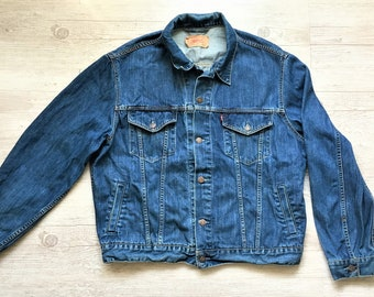 288d8c80a7 Vintage Levis Jacket   Levi Strauss   Co Washed Denim Jacket   Dark Wash  Men s Denim jacket   Size XL   BOHO Trucker Denim Jacket