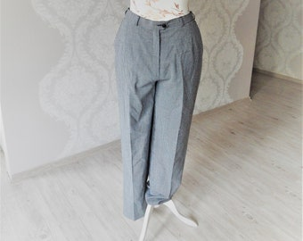 36232ab5daa747 Vintage Checkered trousers / High waisted pants / Flat Front pants /  Checked pants / Size EU 42 / Oxford style / Vintage clothing