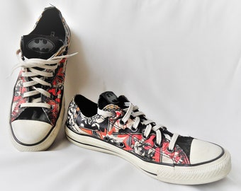 1c9c3df63083 Vintage Converse Sneaker   Batman Comic Book CARTOON   Converse All Star  Low Tops Trainers Sneakers   Size UK 7 EU 40