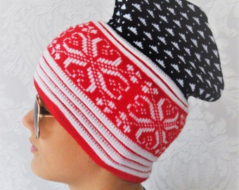 0775c213326 Vintage Ski hat Snowflakes pattern hat Winter Swedish Satila Red Navy with  White Stripes Wool 80s Retro Knit Cap Roof Design Made in Sweden