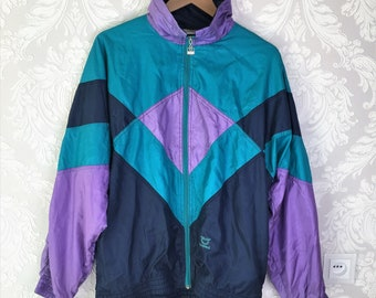 48ecd24658a5f8 Vintage 90s Trends Shelljacket Sports wear Unisex Sportjacket Purple Green  navy Blue Color blocked Zip Up Too-big Windbreaker Jacket 80s 90s