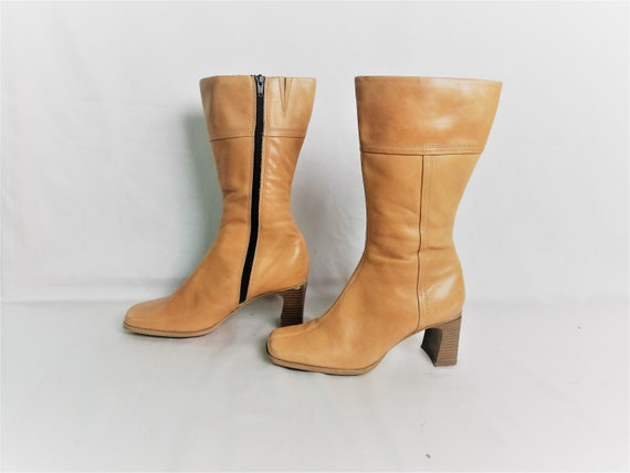 Vintage Chunky Ankle Boots / Beige Leather Ankle b