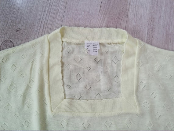 Womens Vintage Pal Yellow Light Knitted Crop Top  Short Sleeve Blouse  Size Small  Medium  Made in UK