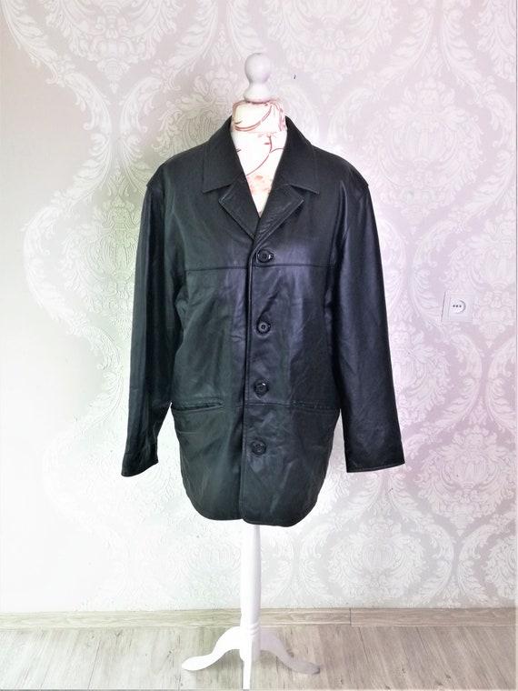 Vintage Leather Jacket Coat Men / Black Classic Le
