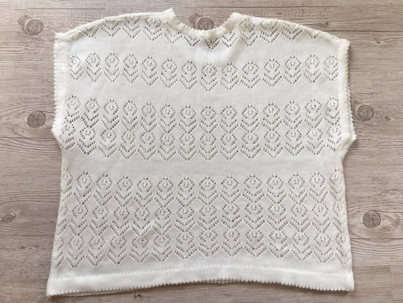 Vintage 80s Striped Lace Knitted Top Women  Drop Shoulder White Knit Top  Size Medium  Trendy clothes