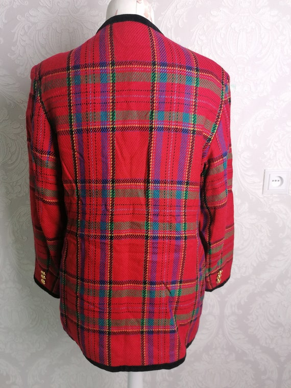 Mens Size 48R Vintage Mens Plaid Wool Blend Blazer 80s Tartan Felted Suit Coat Jacket
