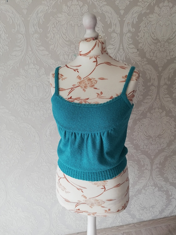 Vintage Turquoise Top / Knitted Crop Tank Top / Sp