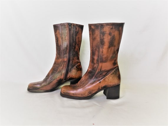 Vintage Chunky Ankle Boots / Shabby Style Brown Le
