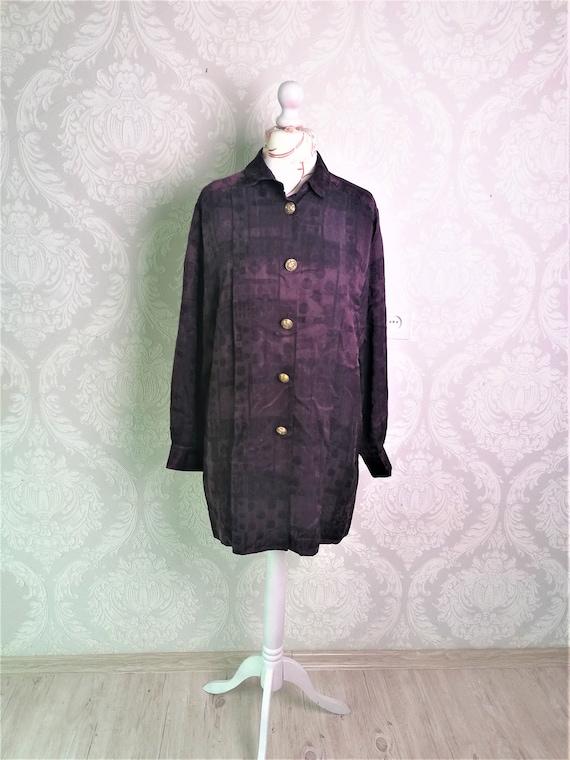 Vintage 80's Purple Silk Blouse Womens Long Pure S