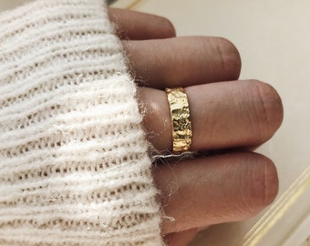 Dainty Hammered Gold and Sliver Band Ring -  Stacking Simple Chunky Textured Ring - Statement ring gift for her