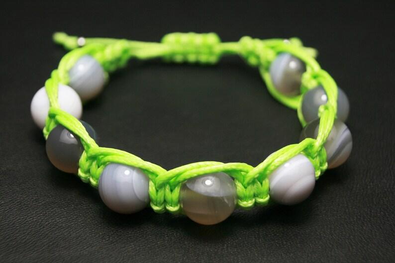 Green agate bracelet for women Gray lace agate gemstone prosperity bracelet,Plume agate gray agate bracelet Natural botswana agate jewelry