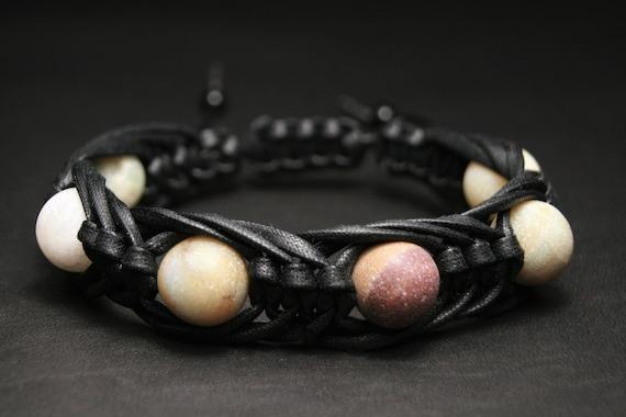 Braderie style unique sortie en ligne Amazonite bracelet homme Black mens mala bracelet pierre Cute 5th  anniversary gift, mens skull bracelet viking, anxiety bracelet