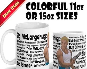 David Rider (Space Mutiny) Alternate Names Coffee Mug - Big McLargehuge, Slab Bulkhead, and Bob Johnson Featured