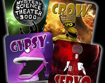 Set of 4 Mystery Science Theater 3000 (MST3K) Inspired Drink Coasters