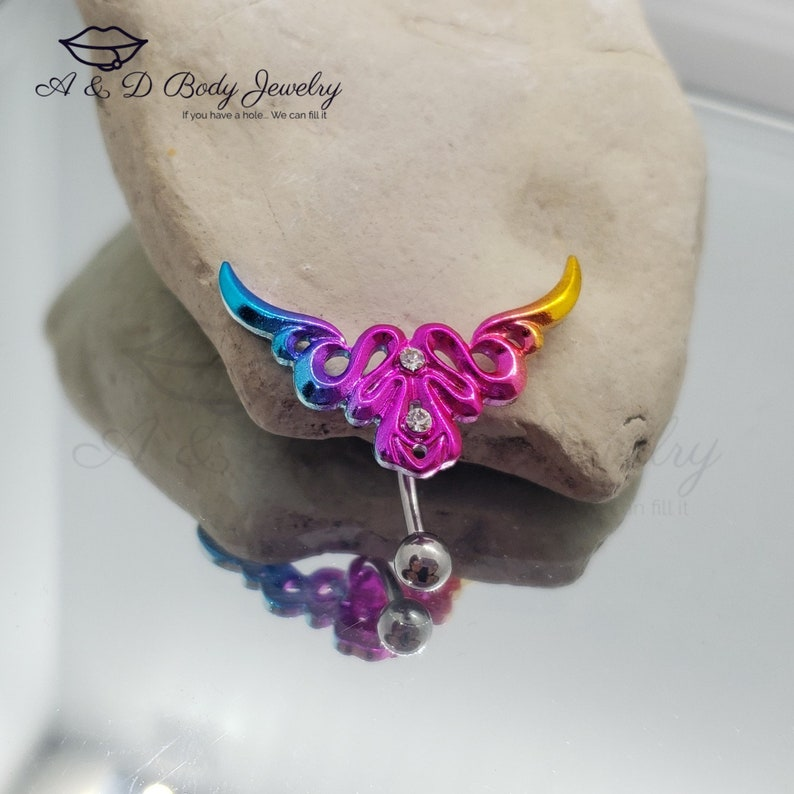 Tribal Top Down Rainbow Navel Ring ~ Belly Ring