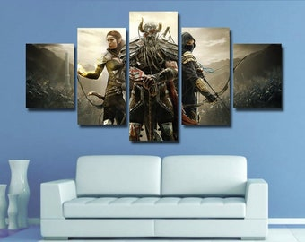 Skyrim Wall Art Poster Canvas Home Decor 5 Pieces Multi Panel Kids Room Bedroom Giclee Framed