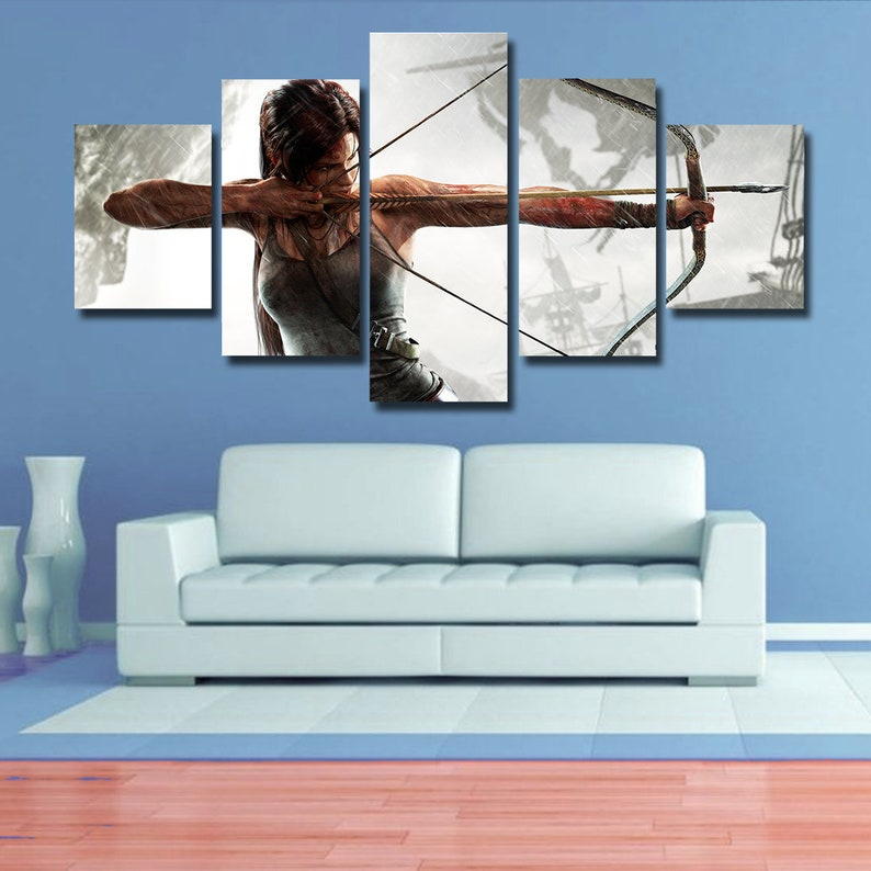 Tomb Raider Wall art Tomb Raider poster Tomb Raider canvas, home decor, 5  pieces multi panel, kids room, bedroom, giclee, framed