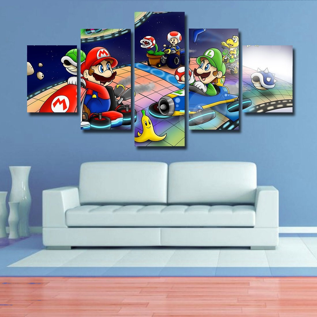 Mario Kart Wall art Super Mario poster canvas, home decor, 5 pieces multi  panel, kids room, bedroom, giclee, framed