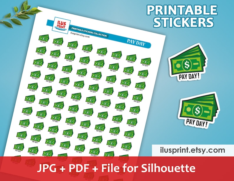 PAY DAY Printable Stickers   Planner Stickers   Dollar bill Stickers    Money Printable Stickers