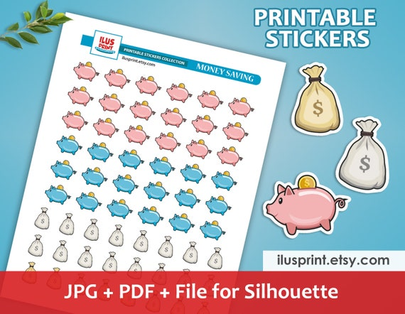 Digital Stickers Piggy Bank Stickers Finance Saving Tracker Stickers Save Money Stickers COMMERCIAL USE Printable Planner Stickers